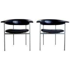 Rudolf Wolf, Pair of Dutch Design Black Metal Armchairs, Model Gamma, 1960s