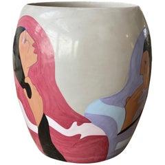 "Rudolph Carl Gorman, Ceramic Vase, 'The Joke - State II"", Artist Proof"