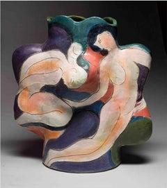 """Gull Beach"", Stoneware Ceramic Sculpture with Figurative Illustration"