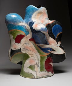 """Sanibel"", Stoneware Ceramic Sculpture with Figurative Illustration and Glaze"
