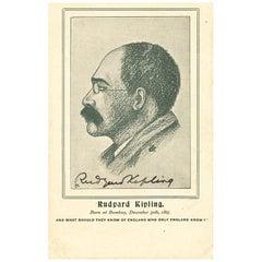 Rudyard Kipling Vintage Original Signed Postcard, Black and White