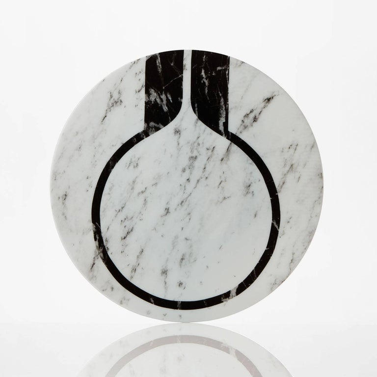 Modern Set of Six Porcelain Plates in Black and White by Etienne Bardelli For Sale 7