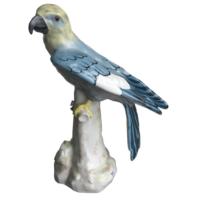 Rue Fontaine Au Roi Hand Painted Porcelain Parrot For Sale