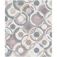 Rue Gabriele Contemporary Art Hand-Knotted Dusty Rose Wool and Silk 9x12 Rug
