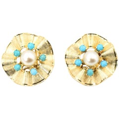 Ruffled Turquoise and Pearl Flower Gold Clip-On Earrings