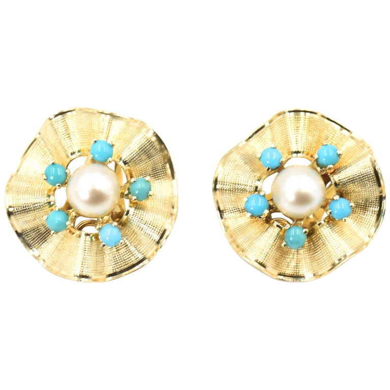 Ruffled Turquoise and Pearl Flower Gold Clip-On Earrings For Sale