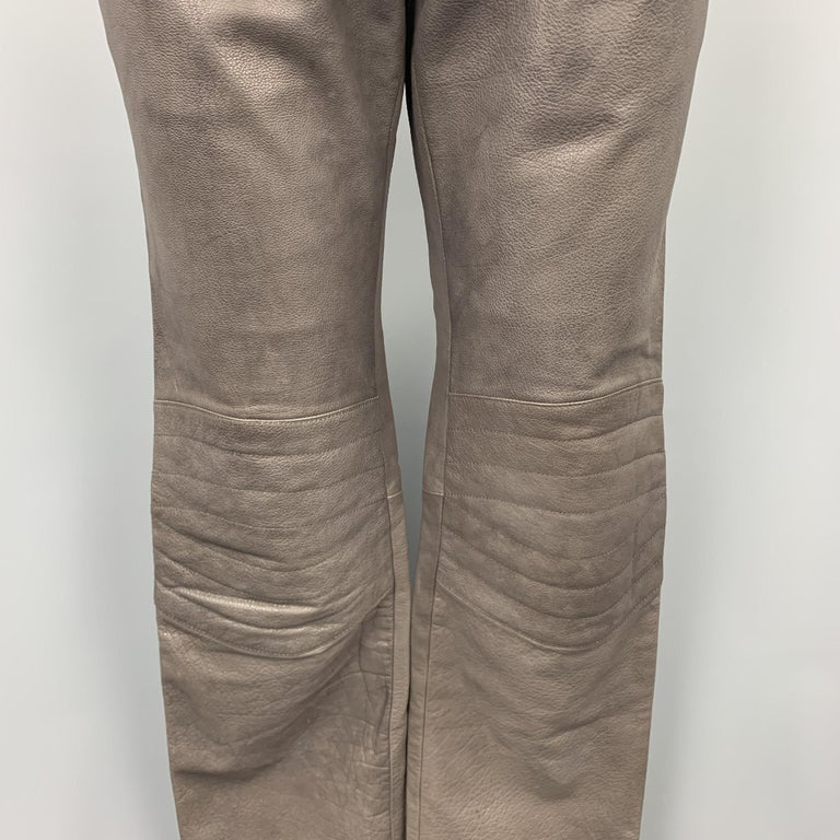 Black RUFFO Size 34 Taupe Textured Leather Knee Pad Biker Pants For Sale