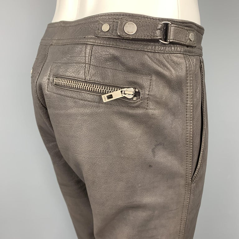 RUFFO Size 34 Taupe Textured Leather Knee Pad Biker Pants In Good Condition For Sale In San Francisco, CA