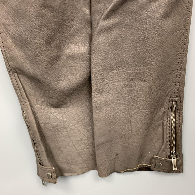 Men's RUFFO Size 34 Taupe Textured Leather Knee Pad Biker Pants For Sale