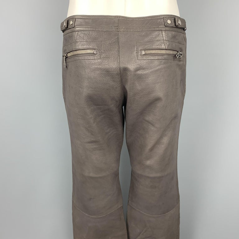 RUFFO Size 34 Taupe Textured Leather Knee Pad Biker Pants For Sale 1