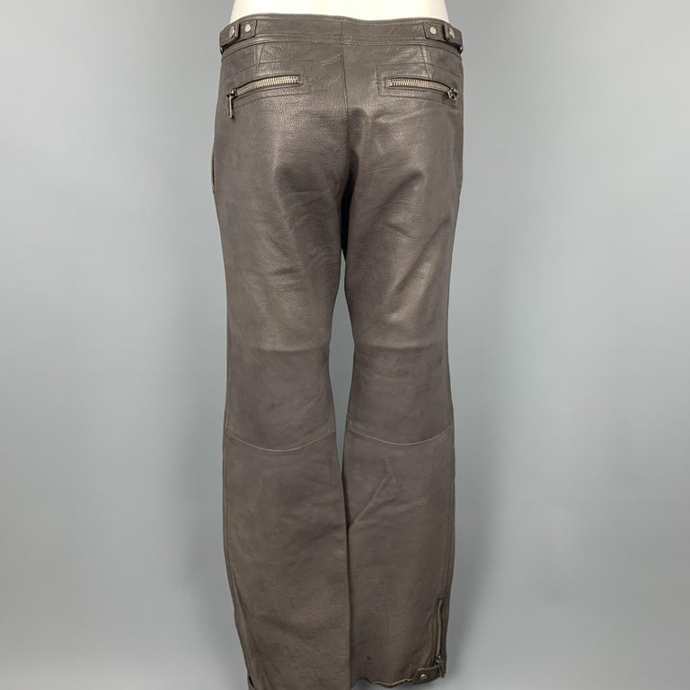 RUFFO Size 34 Taupe Textured Leather Knee Pad Biker Pants For Sale 2
