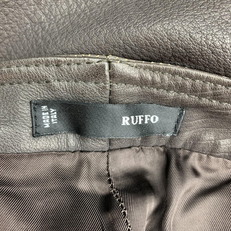 RUFFO Size 34 Taupe Textured Leather Knee Pad Biker Pants For Sale 3