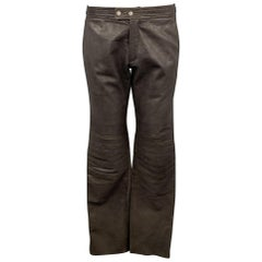 RUFFO Size 34 Taupe Textured Leather Knee Pad Biker Pants