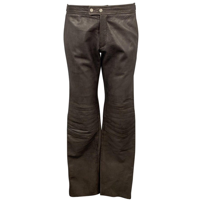 RUFFO Size 34 Taupe Textured Leather Knee Pad Biker Pants For Sale