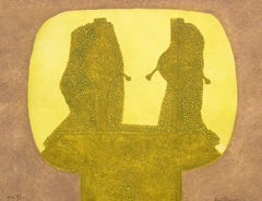 """Dos Figuras en Ochre"", Rufino Tamayo, Figurative Abstraction, Etching, 22x24 in"