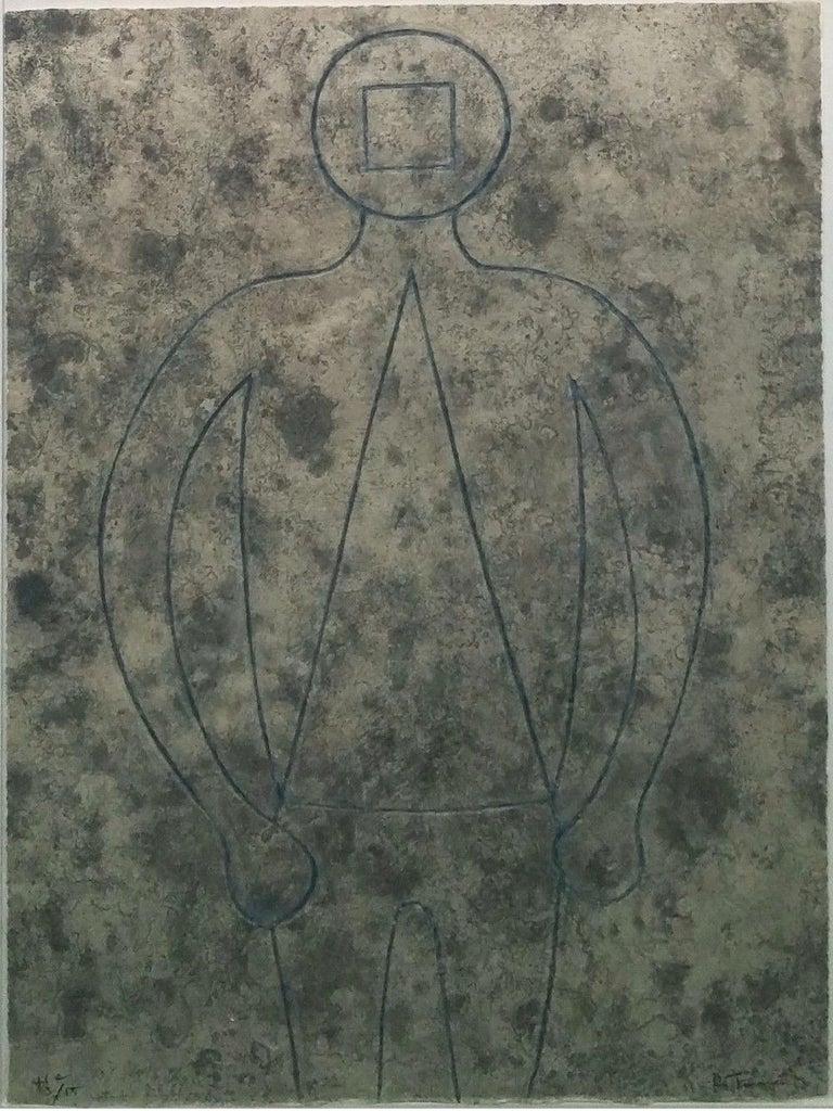 Rufino Tamayo Portrait Print - FIGURA DE HOMBRE EN AZUL CON FONDO GRIS