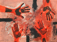 """Manos en Rojo"", Rufino Tamayo, Red Hands, Abstraction, Etching, 22x30 in."