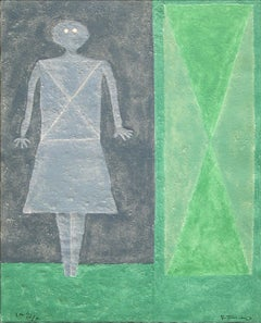 """Mujer en Azul"", Rufino Tamayo, Figurative Abstraction, Etching, 30x22 in."