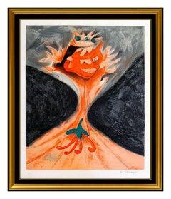 Rufino Tamayo Authentic Hand Signed Original Color Lithograph Aztlan Portrait