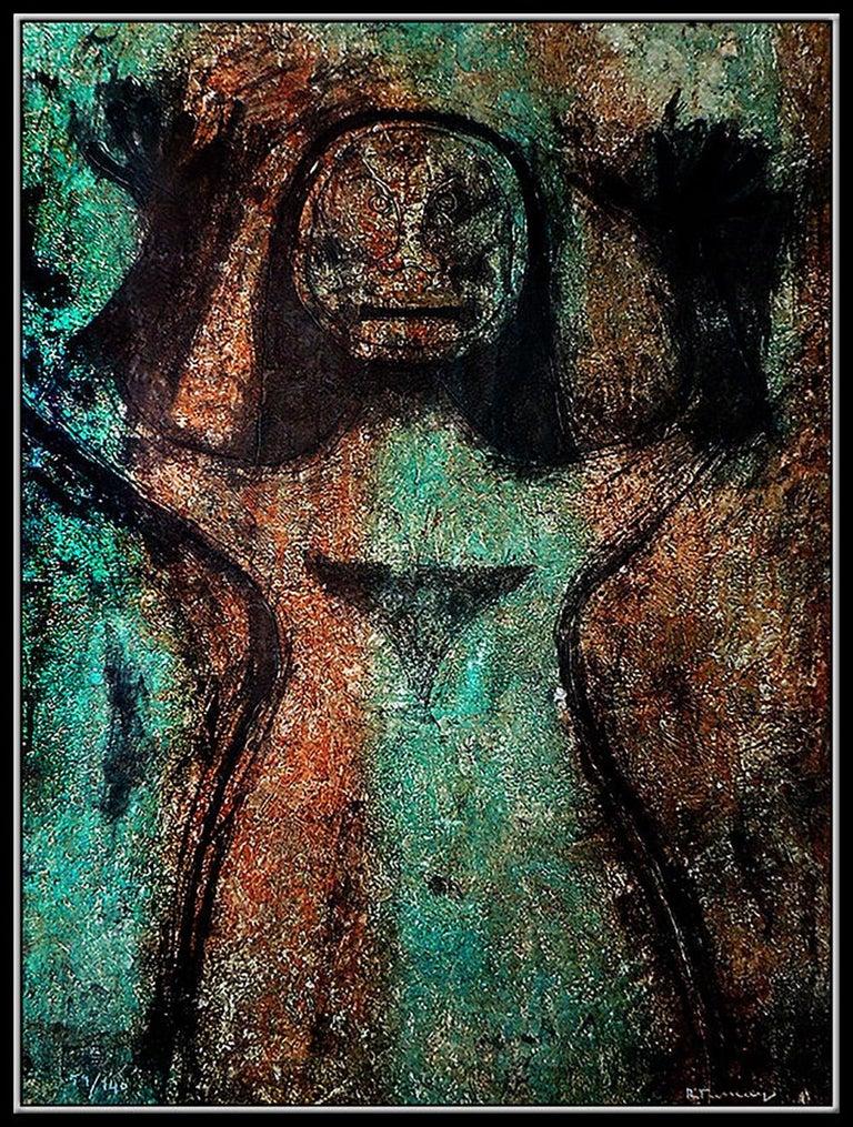 Rufino TAMAYO Authentic Mixographia Original Hand Signed Modern Female Portrait - Print by Rufino Tamayo