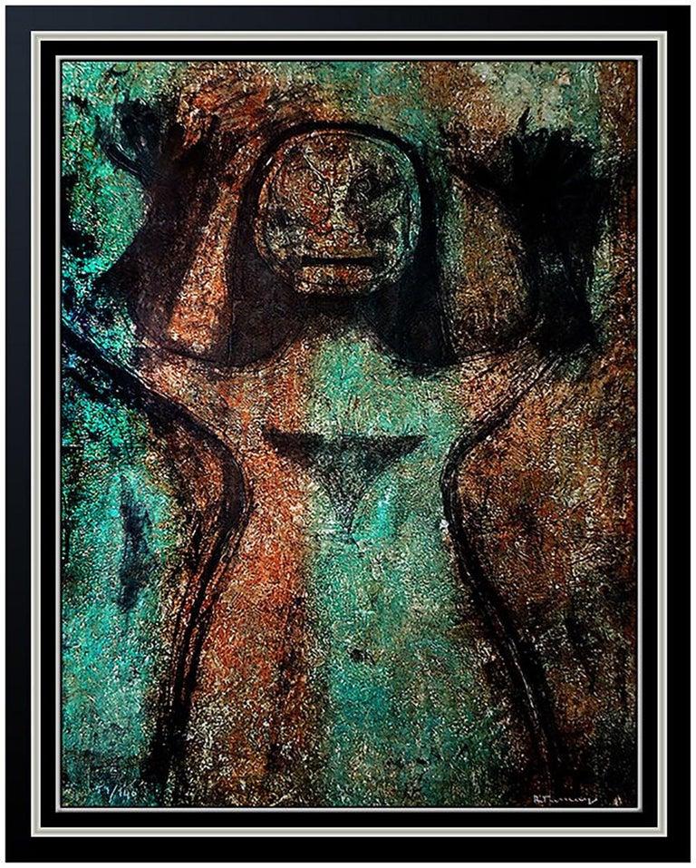 Rufino Tamayo Abstract Print - Rufino TAMAYO Authentic Mixographia Original Hand Signed Modern Female Portrait