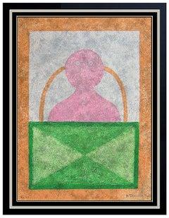 Rufino Tamayo Large Original Color Etching Signed Portrait Torso En Rosa Artwork