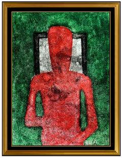 Rufino Tamayo Original Color Mixograph Hombre En Rojo Signed Modern Portrait Art