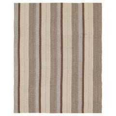 Mid-Century Modern Style Minimalist Striped Flatweave Rug