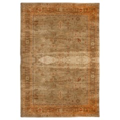 Rug and Kilim's 21st Century Oushak Inspired Design Rug Green and Orange Floral