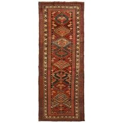 Rug and Kilim's Antique Karabagh Runner in Beige and Orange Geometric Pattern