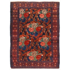 Rug and Kilim's Antique Senneh Traditional Crimson Red and Blue Floral Pattern