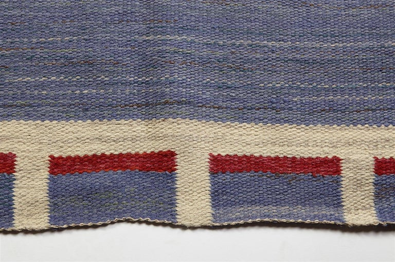 Handwoven wool kelim technique, Sweden, 1950s.