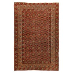 Antique Gordes Traditional Rug in Red and Beige Geometric Pattern