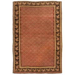Antique Karabagh Traditional Rug in Red, Golden and Beige Geometric