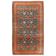 Antique Khotan Samarkand Transitional in Blue and Red Floral