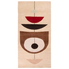 Rug & Kilim Mid-Century Modern Geometric Beige Brown and Red Wool Rug