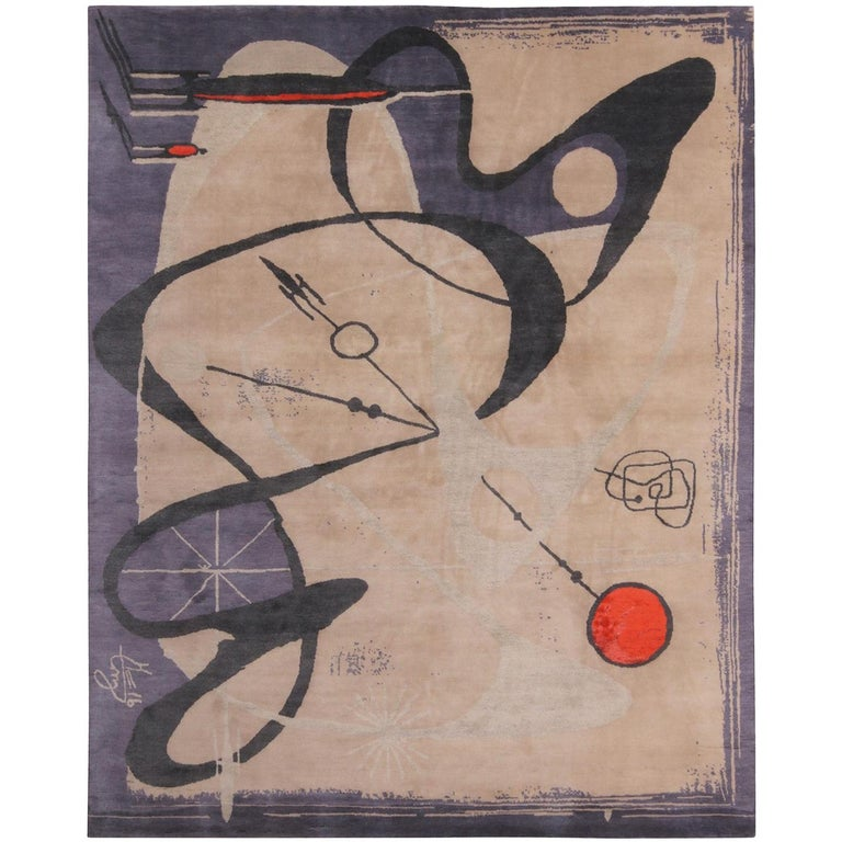 Rug & Kilim Mid-Century Modern Pictorial Beige Black and Blue Wool and Silk Rug For Sale