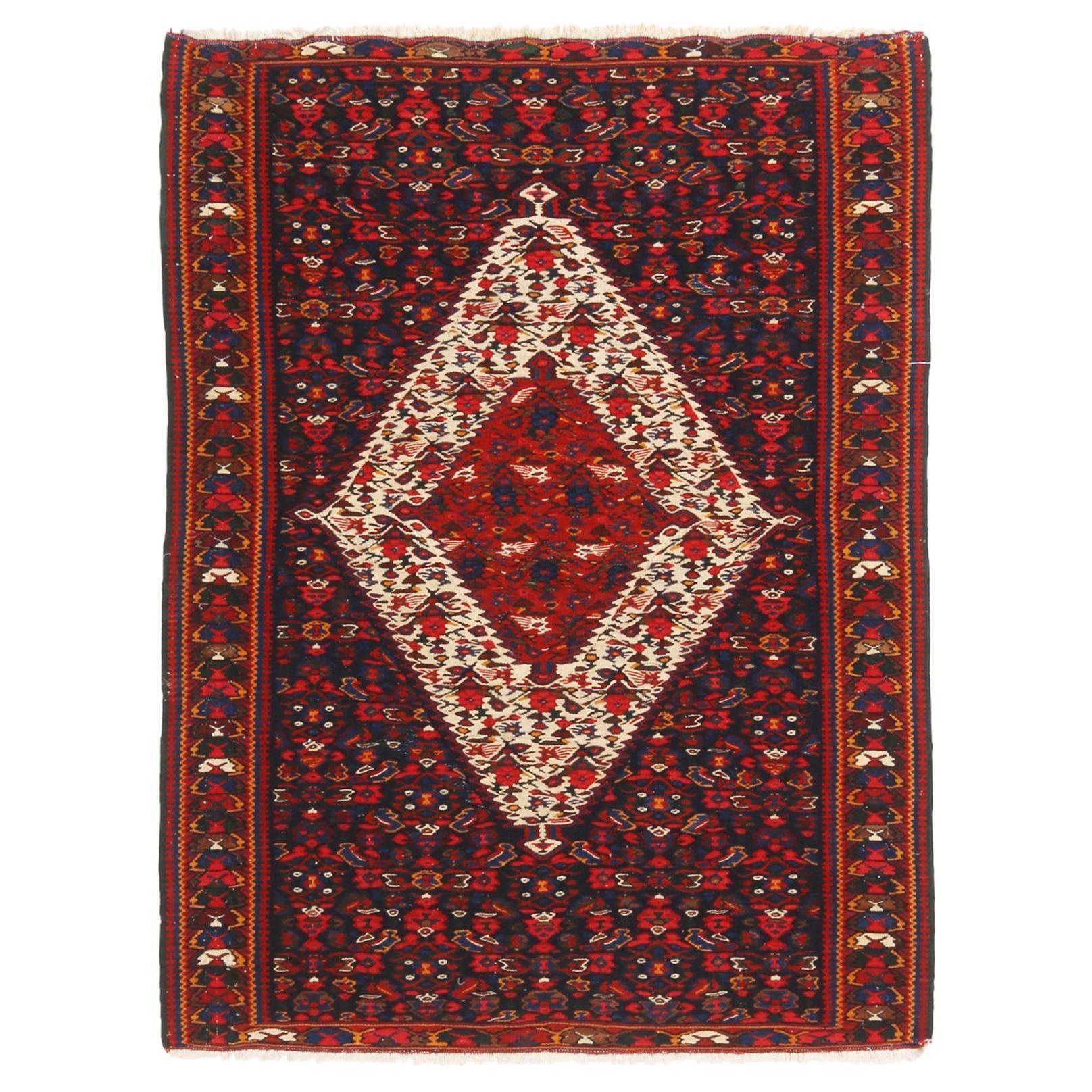 Vintage Senneh Transitional Red and Beige Wool Persian Kilim