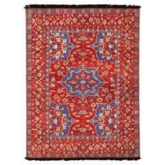 Rug & Kilim's 17th-Century Oushak Style Geometric Red Beige and Blue Wool Rug