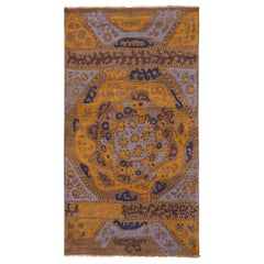 Rug & Kilim's 19th-Century Azerbaijan Embroidery Style Beige Gold and Blue Rug