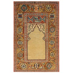 Rug & Kilim's 19th Century Style Rug in Beige Gold and Blue Floral Pattern