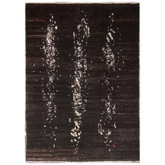 Rug & Kilim's Abstract Modern Rug in Black and White Painterly Pattern