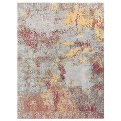 Rug & Kilim's Abstract Modern Rug in Blue and Red All over Abstract Pattern