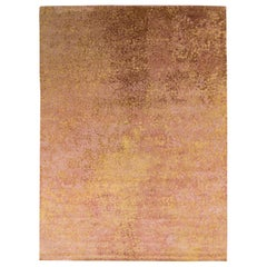 Rug & Kilim's Abstract Modern Rug in Pink and Gold All Over Dots Pattern