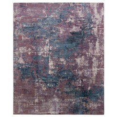 Rug & Kilim's Abstract Modern Rug in Purple and Blue All Over Pattern