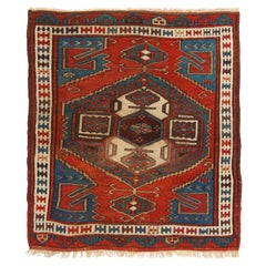 Antique Bergama Traditional Rug in Red and Blue Geometric Pattern