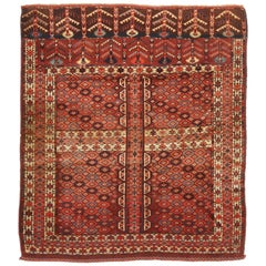 Antique Hachli Transitional Rug in Red and Beige Geometric Pattern
