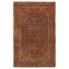 Antique Kashan Traditional Rug in Red and Blue Floral Pattern