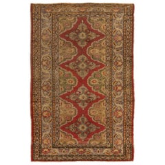 Antique Kayseri Traditional Rug in Red and Gold Geometric Pattern