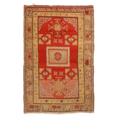 Antique Khotan Transitional Red and Golden Beige Geometric Pattern